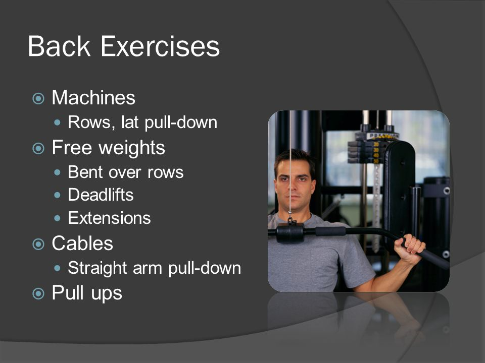 Chest exercises  Body weight Multiple push up variations  Free weights Flat, incline, and decline presses Dumbbell flies and pullovers  Cables Scoops, flies, and presses
