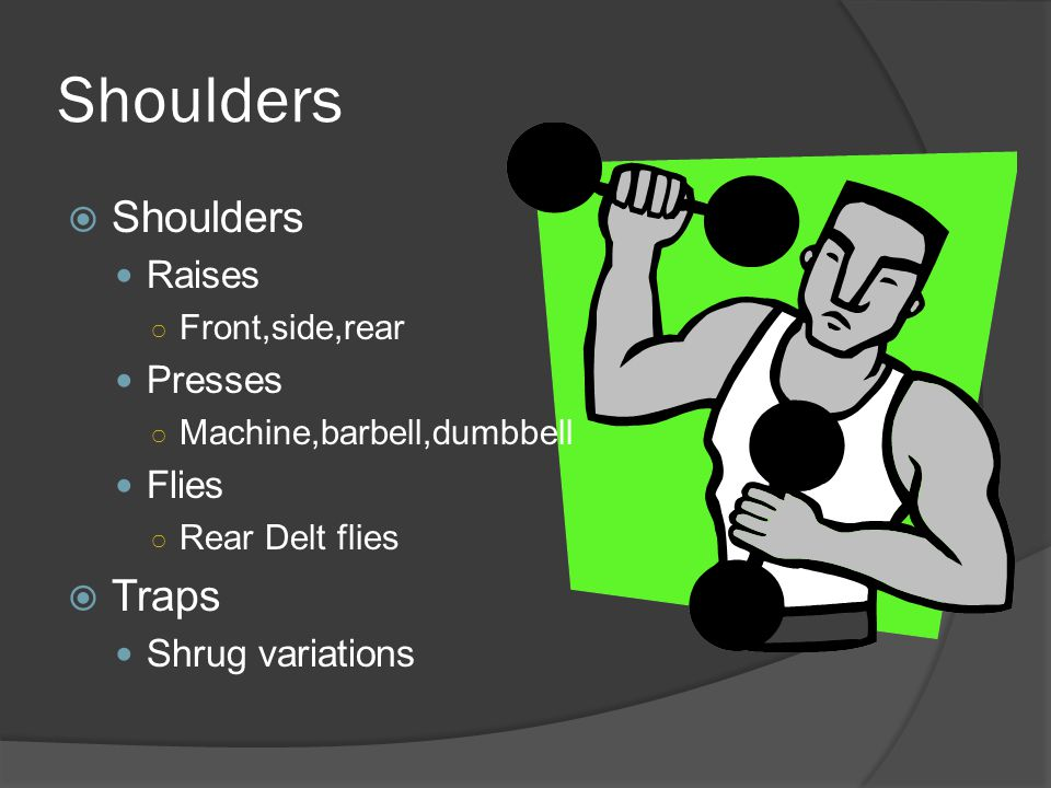 Arms  Triceps Dips Pull-downs Extensions  Biceps Chin ups Ez bar curls Dumbbell curls Preacher curls