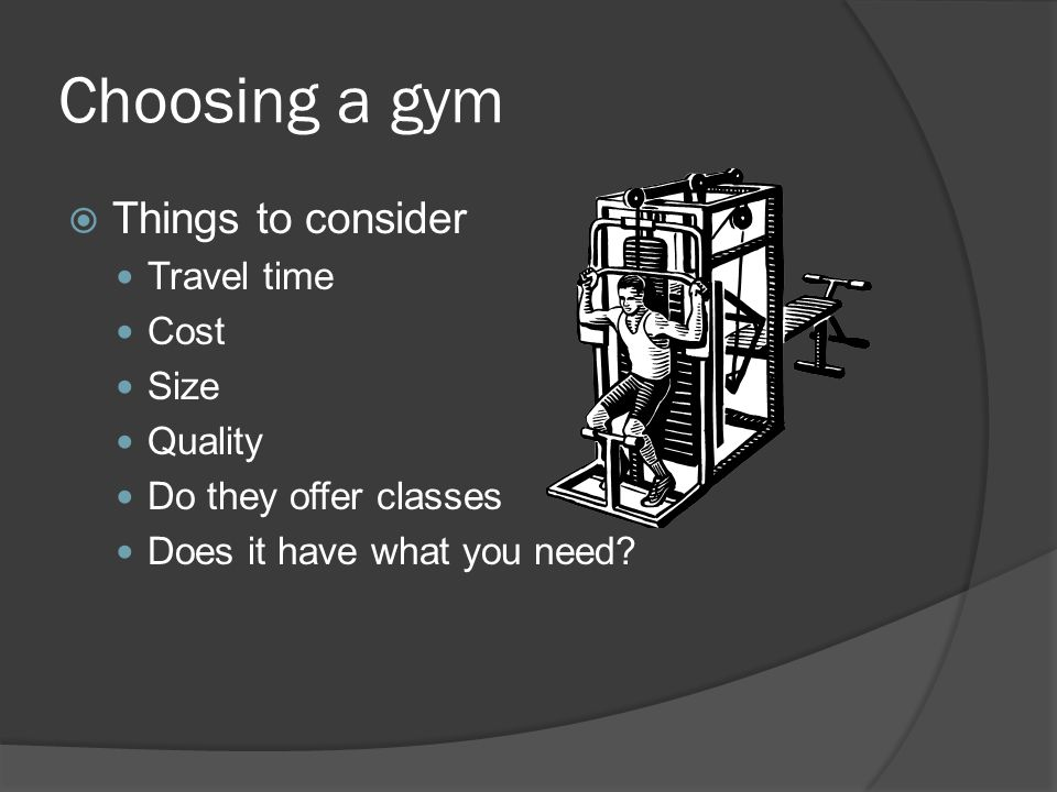 Gyms  Public fitness centers  Rec centers  Private gyms  Fitness Chains  Cross fit and other specialty gyms