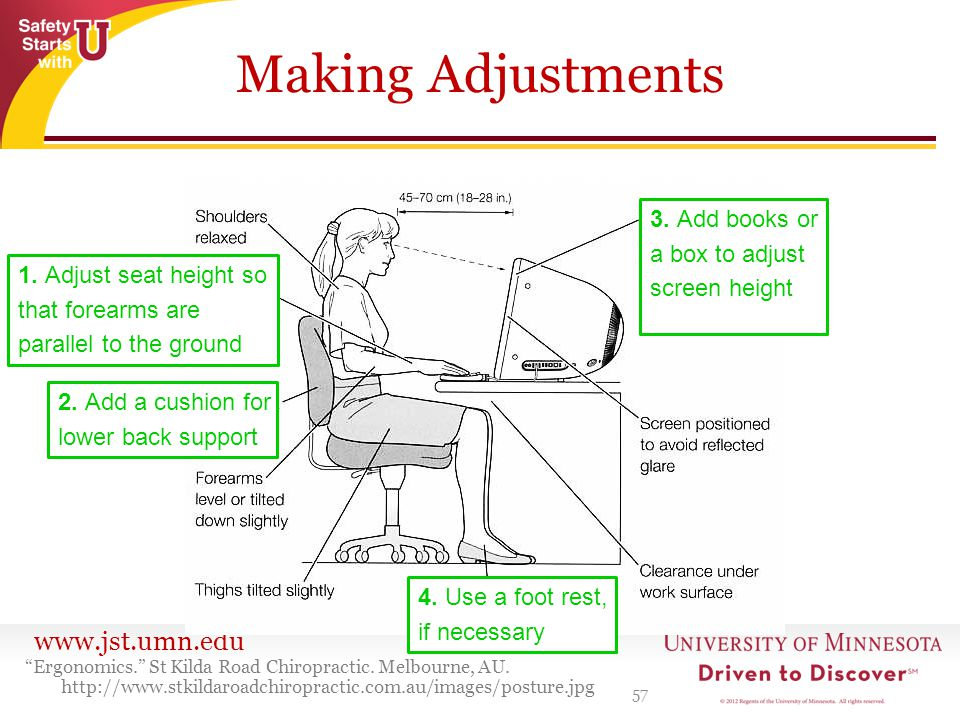 www.jst.umn.edu Making Adjustments 57 Ergonomics. St Kilda Road Chiropractic.