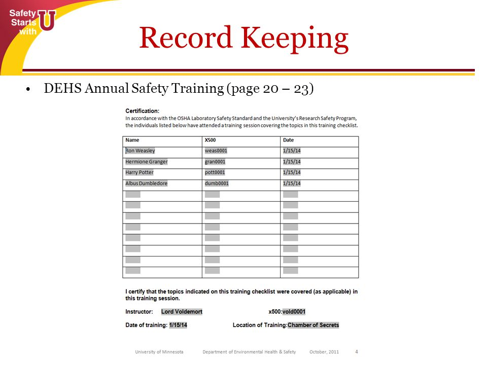 86 Record Keeping DEHS Annual Safety Training (page 20 – 23)