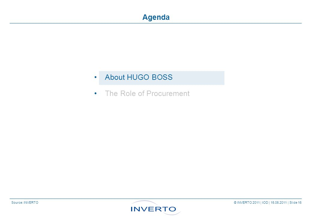 Source: INVERTO © INVERTO 2011 | IOD | 15.06.2011 | Slide 16 Agenda About HUGO BOSS The Role of Procurement