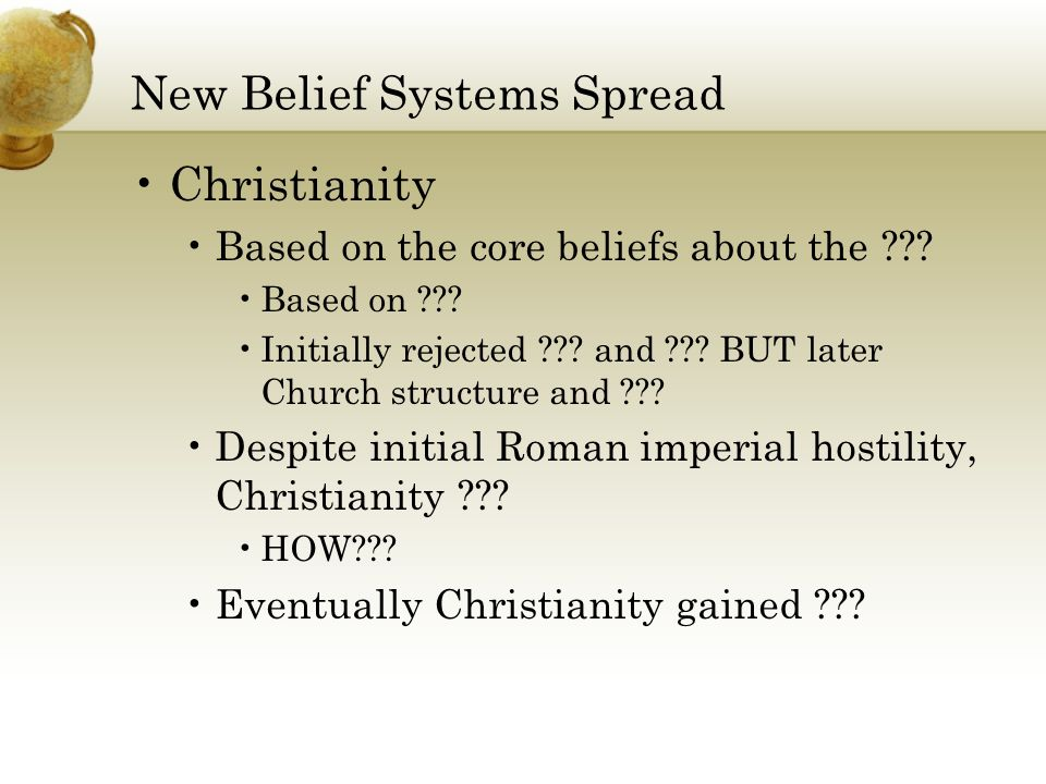 New Belief Systems Spread Christianity Based on the core beliefs about the .