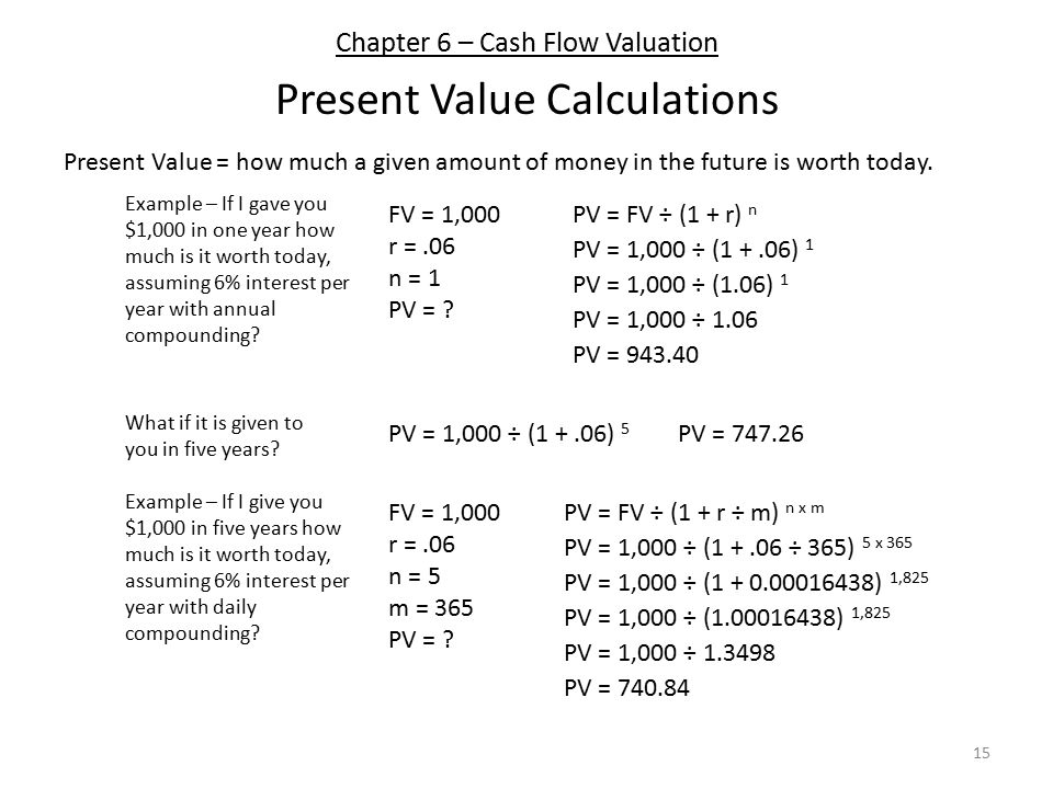 Chapter 6 – Cash Flow Valuation Present Value Calculations 15 Present Value = how much a given amount of money in the future is worth today.