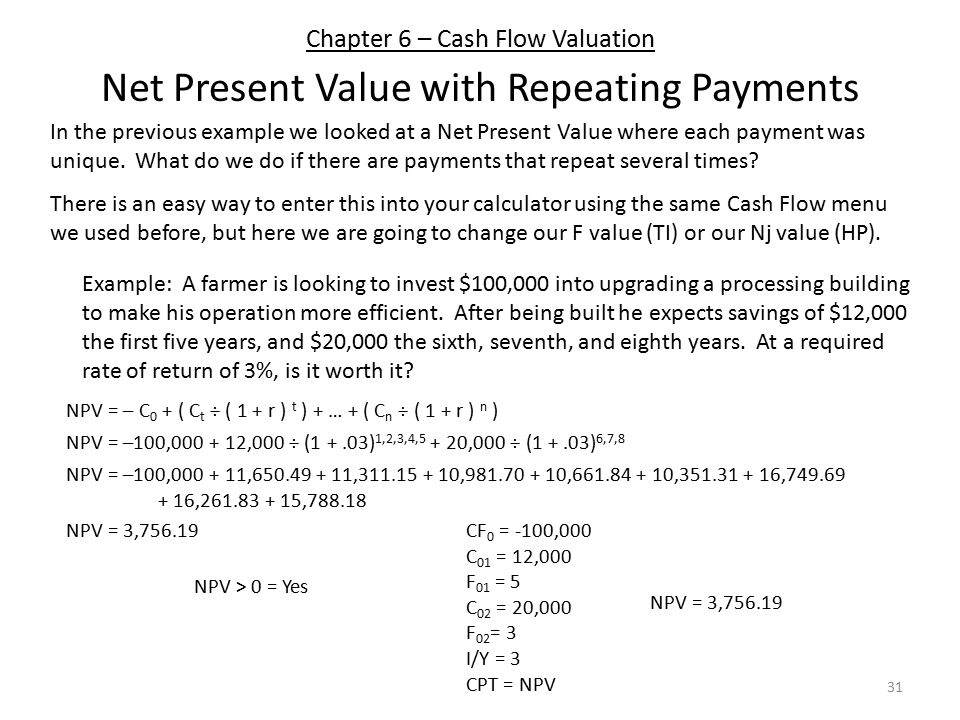 Chapter 6 – Cash Flow Valuation 31 Net Present Value with Repeating Payments In the previous example we looked at a Net Present Value where each payment was unique.