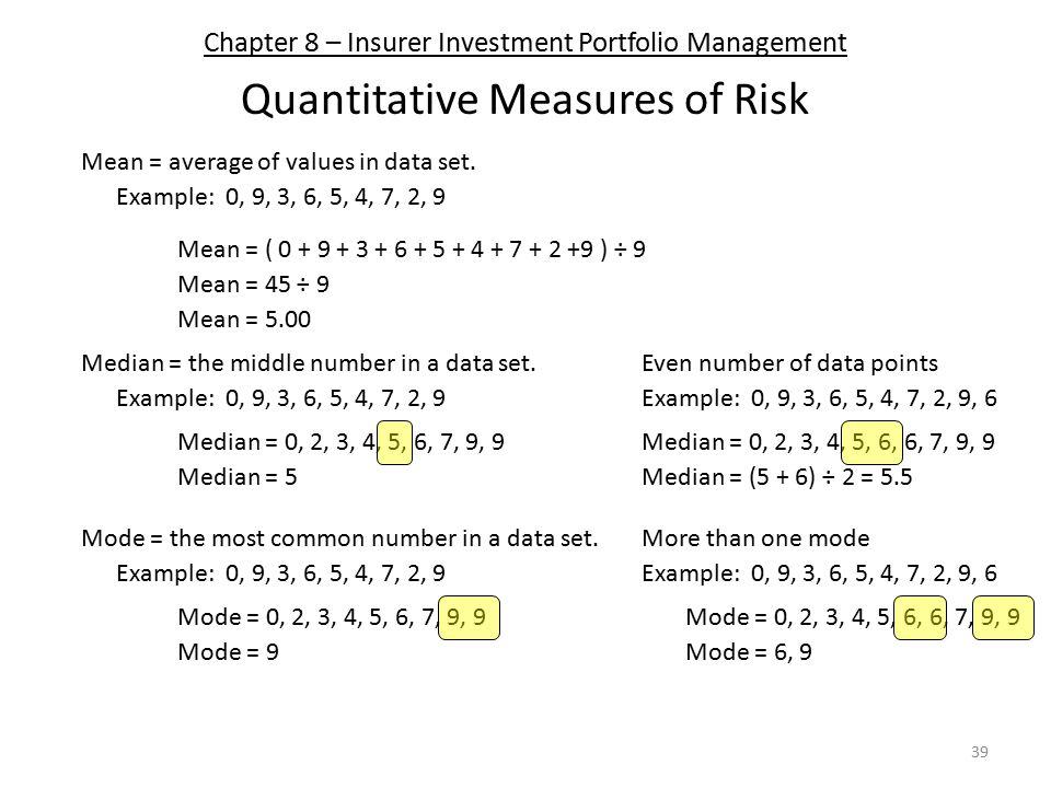 Chapter 8 – Insurer Investment Portfolio Management Quantitative Measures of Risk 39 Mean = average of values in data set. Median = the middle number