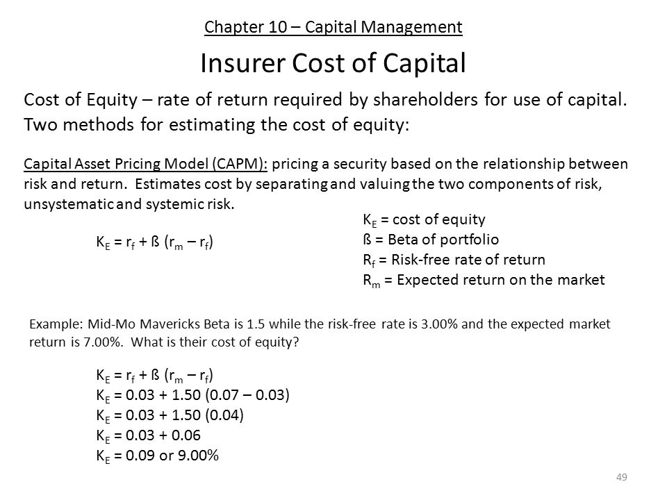Chapter 10 – Capital Management Insurer Cost of Capital Cost of Equity – rate of return required by shareholders for use of capital.