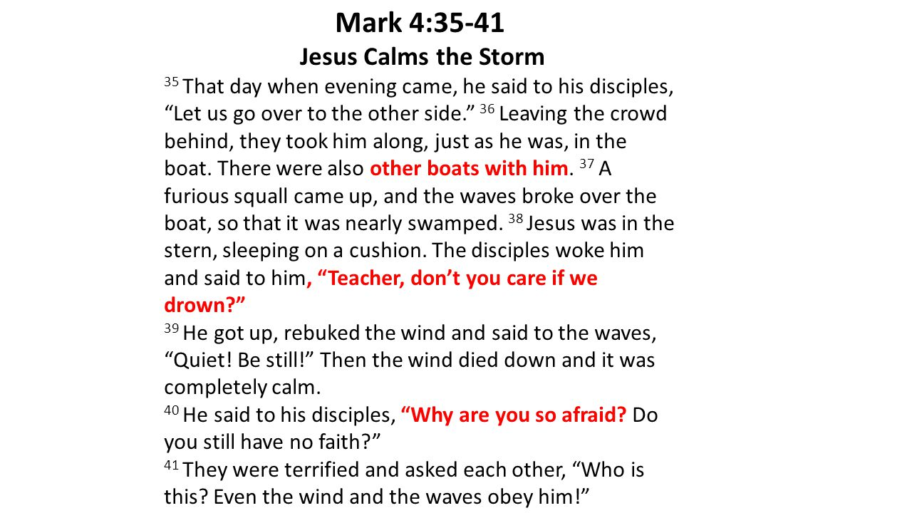 Mark 4:35-41 Jesus Calms the Storm 35 That day when evening came, he said to his disciples, Let us go over to the other side. 36 Leaving the crowd behind, they took him along, just as he was, in the boat.