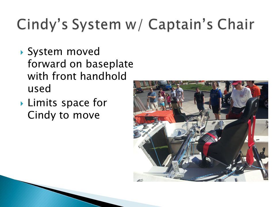  System moved forward on baseplate with front handhold used  Limits space for Cindy to move