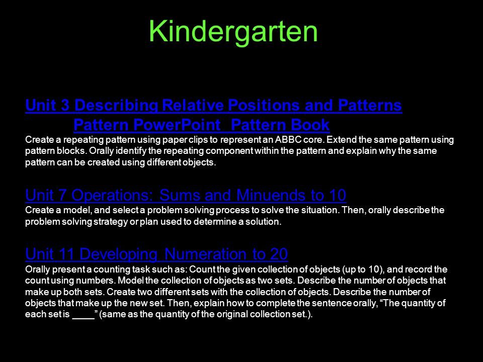 Kindergarten Unit 3 Describing Relative Positions and Patterns Pattern PowerPoint Pattern Book Unit 3 Describing Relative Positions and Patterns Pattern PowerPoint Pattern Book Create a repeating pattern using paper clips to represent an ABBC core.