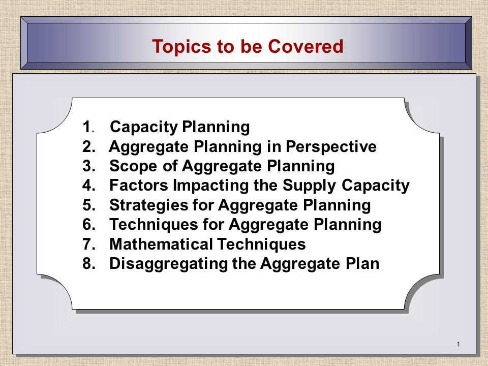 2 How Does Capacity Planning Fit In The Production Cycle.