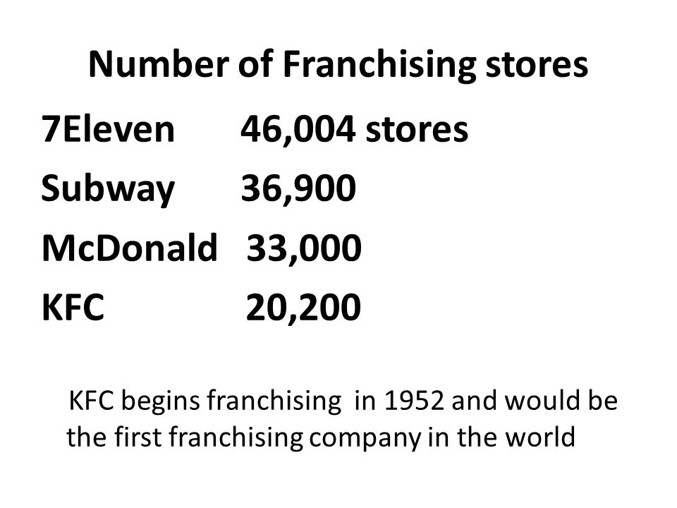 Number of Franchising stores 7Eleven 46,004 stores Subway 36,900 McDonald 33,000 KFC 20,200 KFC begins franchising in 1952 and would be the first fran