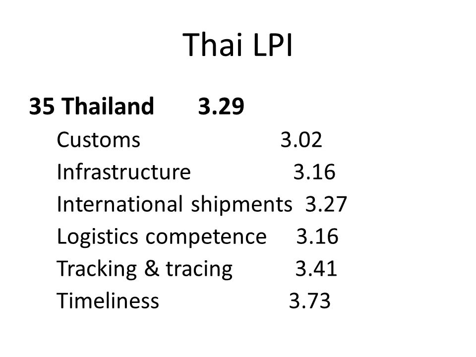 Thai LPI 35 Thailand 3.29 Customs 3.02 Infrastructure 3.16 International shipments 3.27 Logistics competence 3.16 Tracking & tracing 3.41 Timeliness 3