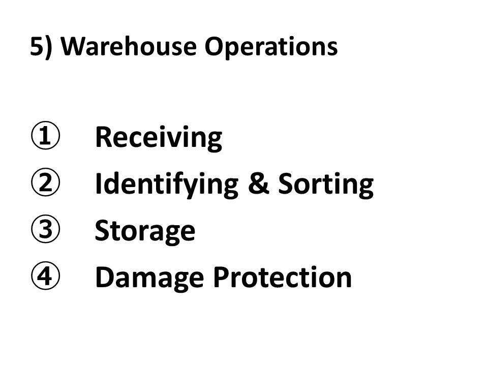 5) Warehouse Operations ① Receiving ② Identifying & Sorting ③ Storage ④ Damage Protection