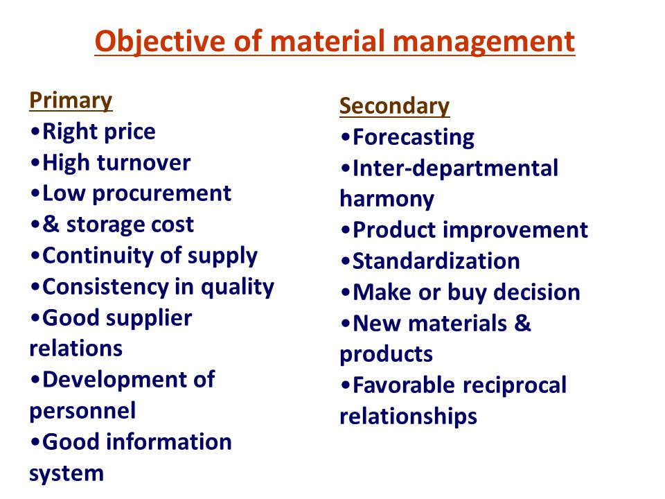 Primary Right price High turnover Low procurement & storage cost Continuity of supply Consistency in quality Good supplier relations Development of personnel Good information system Objective of material management Secondary Forecasting Inter-departmental harmony Product improvement Standardization Make or buy decision New materials & products Favorable reciprocal relationships