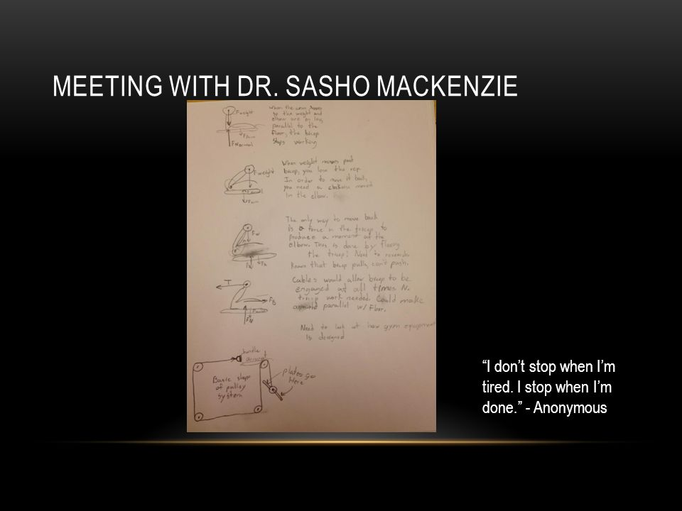 MEETING WITH DR. SASHO MACKENZIE I don't stop when I'm tired. I stop when I'm done. - Anonymous