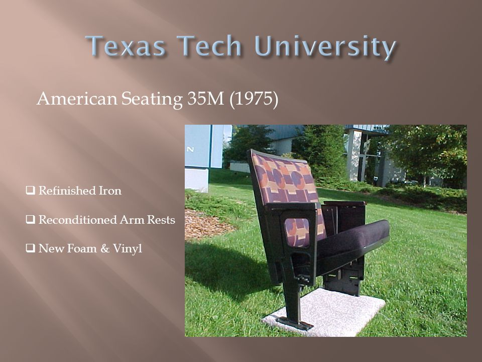 American Seating 35M (1975)  Refinished Iron  Reconditioned Arm Rests  New Foam & Vinyl