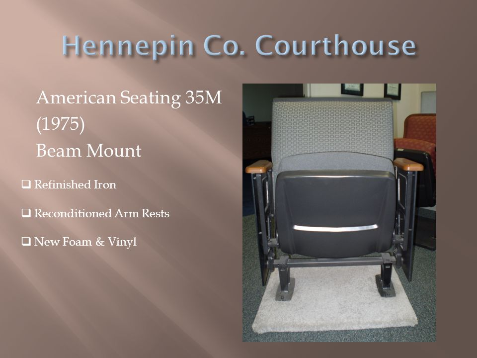 American Seating 35M (1975) Beam Mount  Refinished Iron  Reconditioned Arm Rests  New Foam & Vinyl