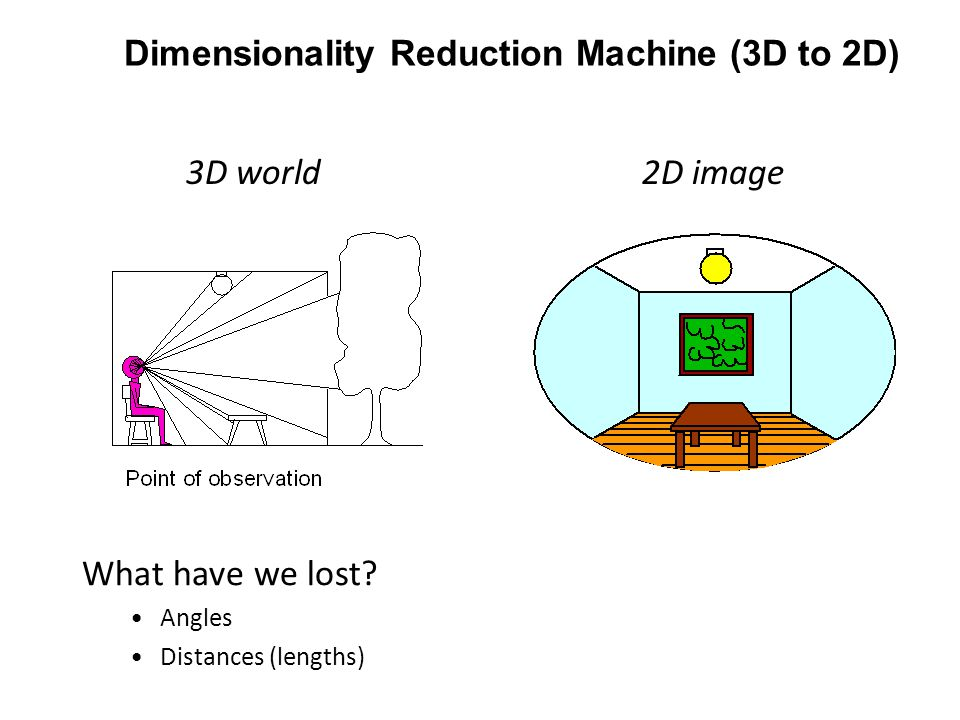 Dimensionality Reduction Machine (3D to 2D) 3D world2D image What have we lost.
