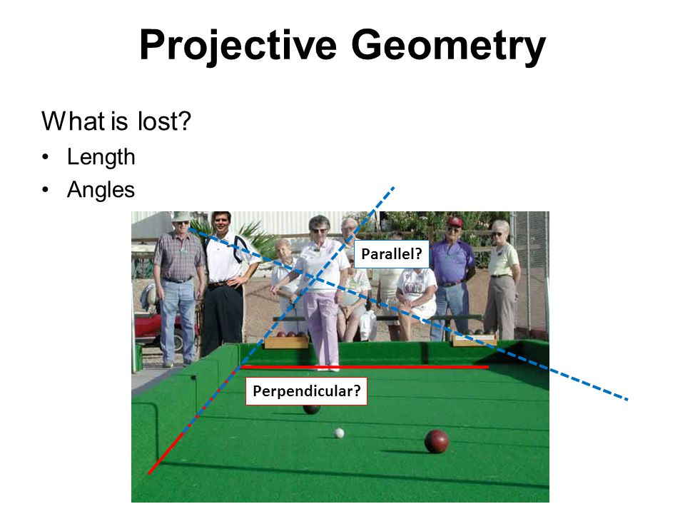 Projective Geometry What is lost Length Angles Perpendicular Parallel