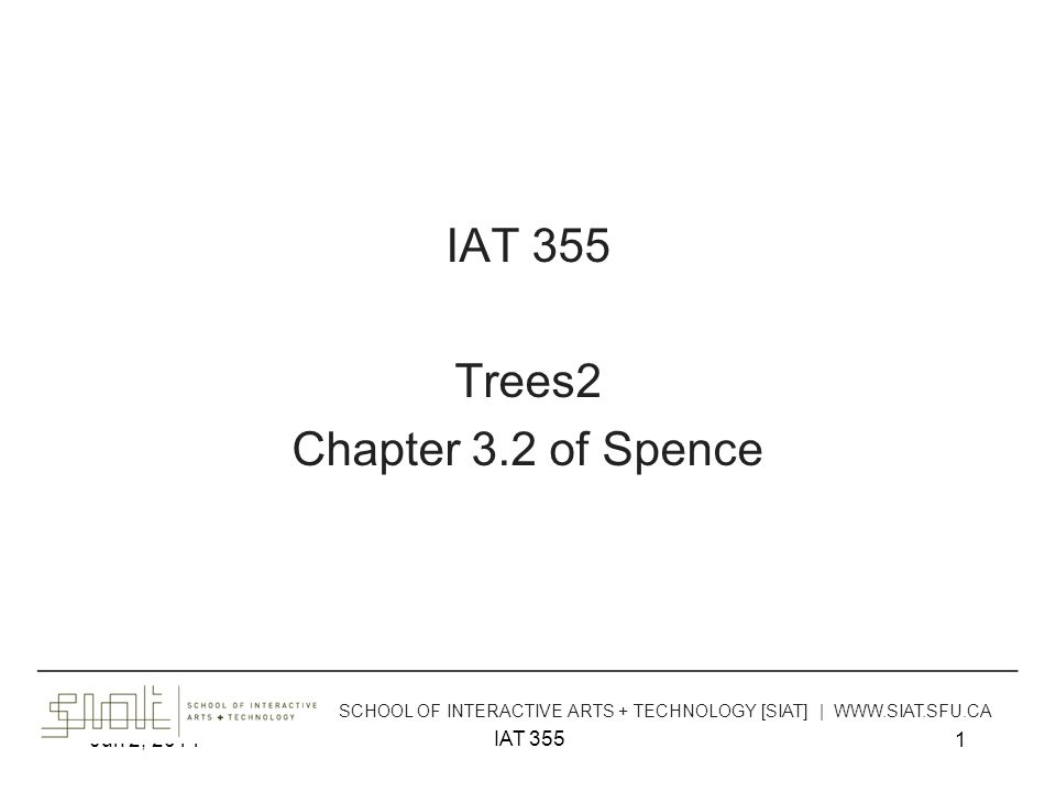 Jun 2, 2014 IAT 355 42 Space-Filling Representation Good for trees with –Size attribute –Shallow hierarchy Not so good –Showing structure –Showing links other than parent-child –Supporting visual search for a single item