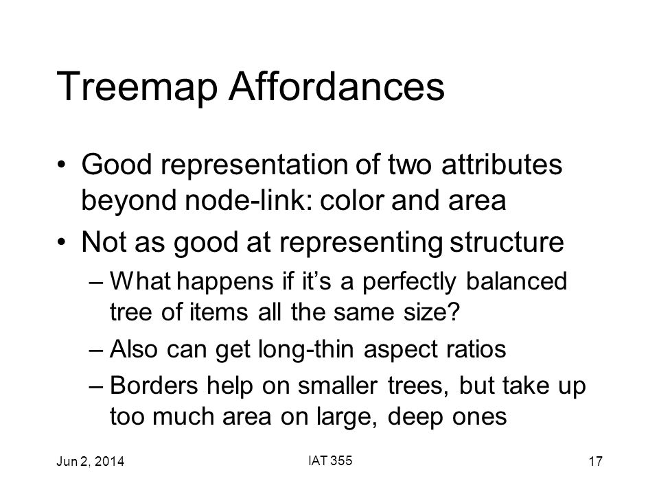 Jun 2, 2014 IAT 355 17 Treemap Affordances Good representation of two attributes beyond node-link: color and area Not as good at representing structure –What happens if it's a perfectly balanced tree of items all the same size.