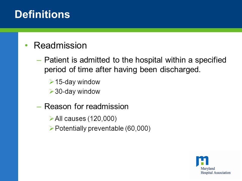 Definitions Readmission –Patient is admitted to the hospital within a specified period of time after having been discharged.