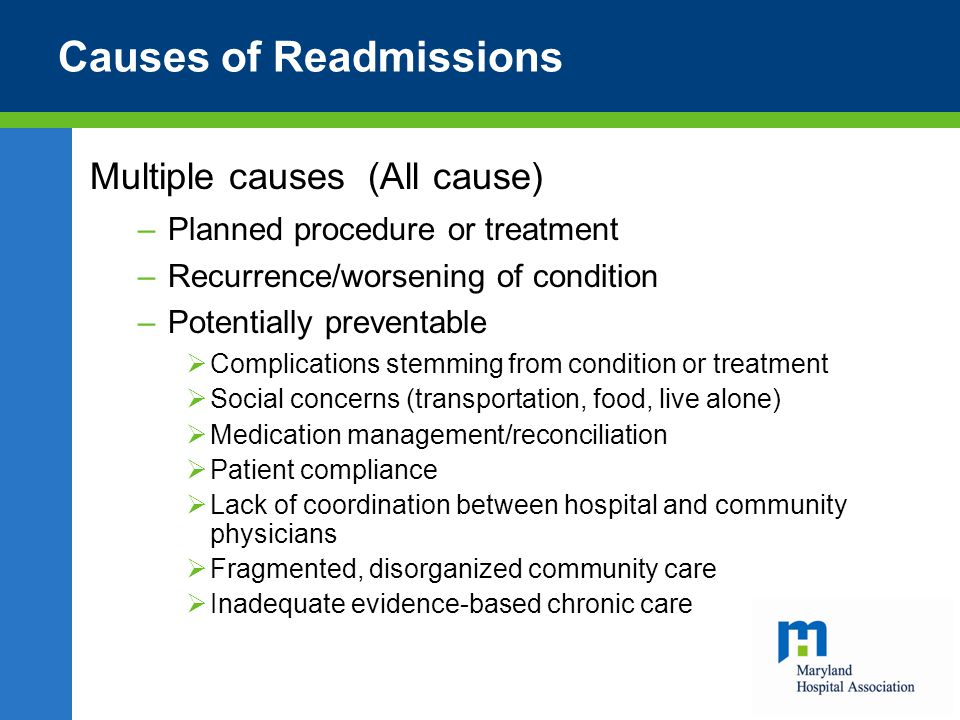Causes of Readmissions Multiple causes (All cause) –Planned procedure or treatment –Recurrence/worsening of condition –Potentially preventable  Complications stemming from condition or treatment  Social concerns (transportation, food, live alone)  Medication management/reconciliation  Patient compliance  Lack of coordination between hospital and community physicians  Fragmented, disorganized community care  Inadequate evidence-based chronic care