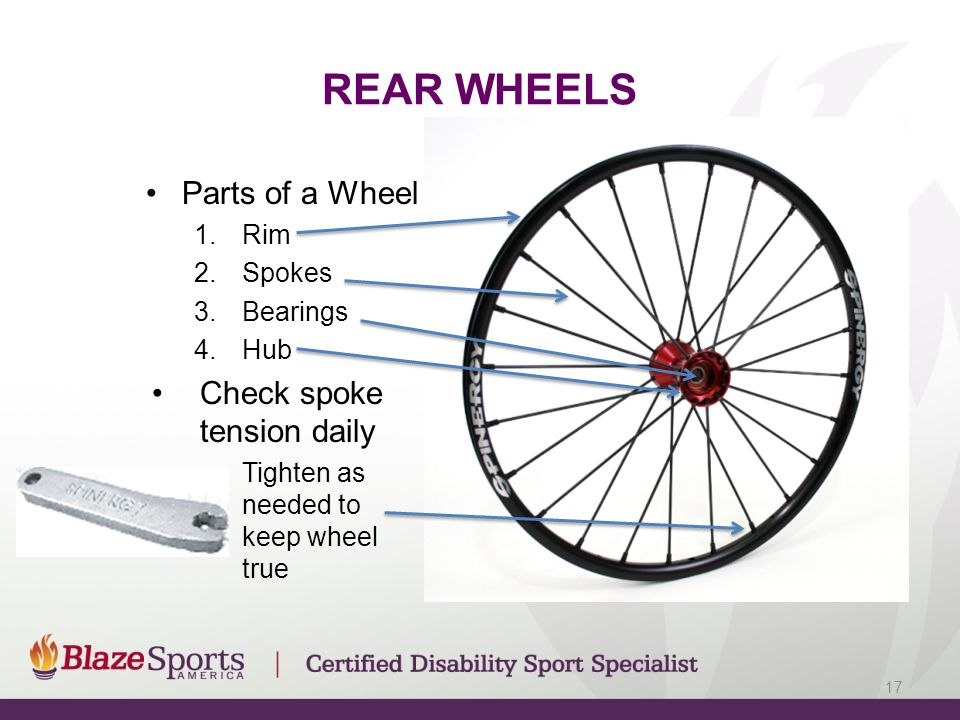 REAR WHEELS Parts of a Wheel 1.Rim 2.Spokes 3.Bearings 4.Hub Check spoke tension daily –Tighten as needed to keep wheel true 17