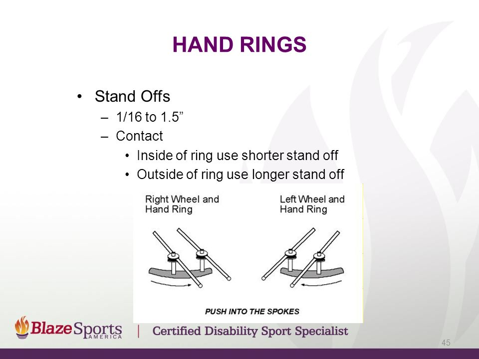 HAND RINGS Stand Offs –1/16 to 1.5 –Contact Inside of ring use shorter stand off Outside of ring use longer stand off 45