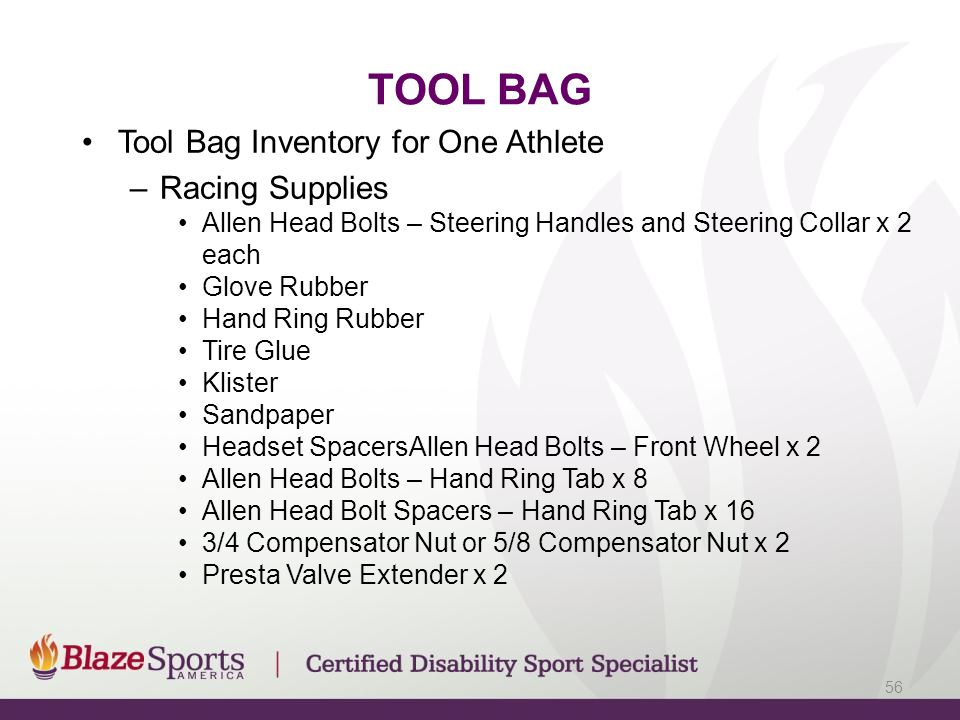 TOOL BAG Tool Bag Inventory for One Athlete –Racing Supplies Allen Head Bolts – Steering Handles and Steering Collar x 2 each Glove Rubber Hand Ring R