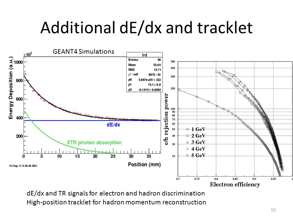 Additional dE/dx and tracklet dE/dx and TR signals for electron and hadron discrimination High-position tracklet for hadron momentum reconstruction GEANT4 Simulations 10