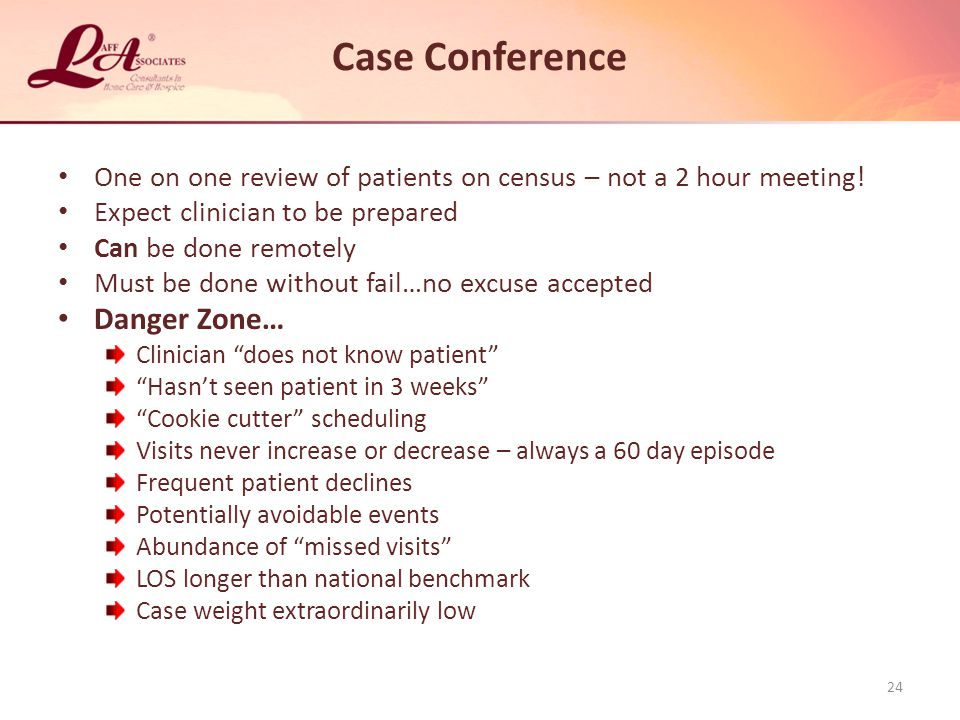 Case Conference One on one review of patients on census – not a 2 hour meeting.