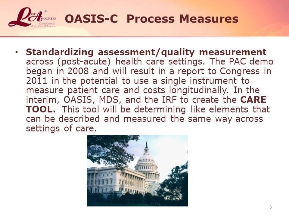 OASIS-C Process Measures Standardizing assessment/quality measurement across (post-acute) health care settings.