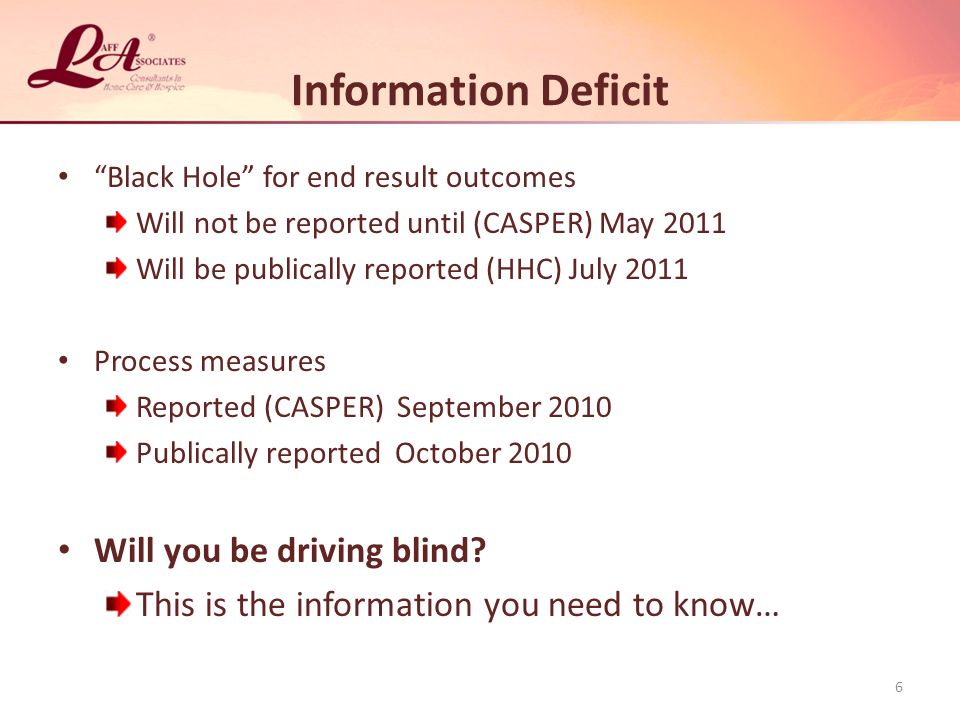 Information Deficit Black Hole for end result outcomes Will not be reported until (CASPER) May 2011 Will be publically reported (HHC) July 2011 Process measures Reported (CASPER) September 2010 Publically reported October 2010 Will you be driving blind.