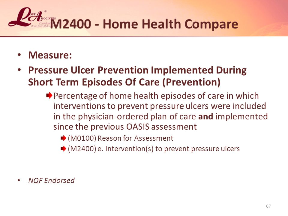 M2400 - Home Health Compare Measure: Pressure Ulcer Prevention Implemented During Short Term Episodes Of Care (Prevention) Percentage of home health episodes of care in which interventions to prevent pressure ulcers were included in the physician-ordered plan of care and implemented since the previous OASIS assessment (M0100) Reason for Assessment (M2400) e.