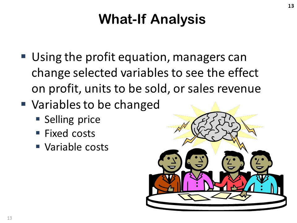 13 What-If Analysis  Using the profit equation, managers can change selected variables to see the effect on profit, units to be sold, or sales revenue  Variables to be changed  Selling price  Fixed costs  Variable costs 13