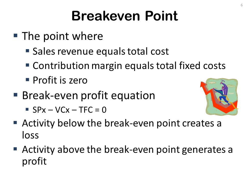 Breakeven Point  The point where  Sales revenue equals total cost  Contribution margin equals total fixed costs  Profit is zero  Break-even profi