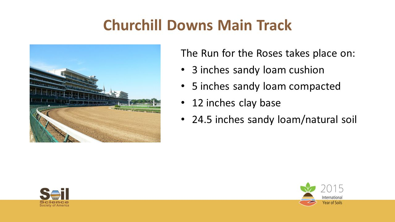 Churchill Downs Main Track The Run for the Roses takes place on: 3 inches sandy loam cushion 5 inches sandy loam compacted 12 inches clay base 24.5 inches sandy loam/natural soil