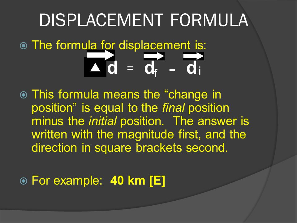 "DISPLACEMENT FORMULA  The formula for displacement is:  This formula means the ""change in position"" is equal to the final position minus the initial"