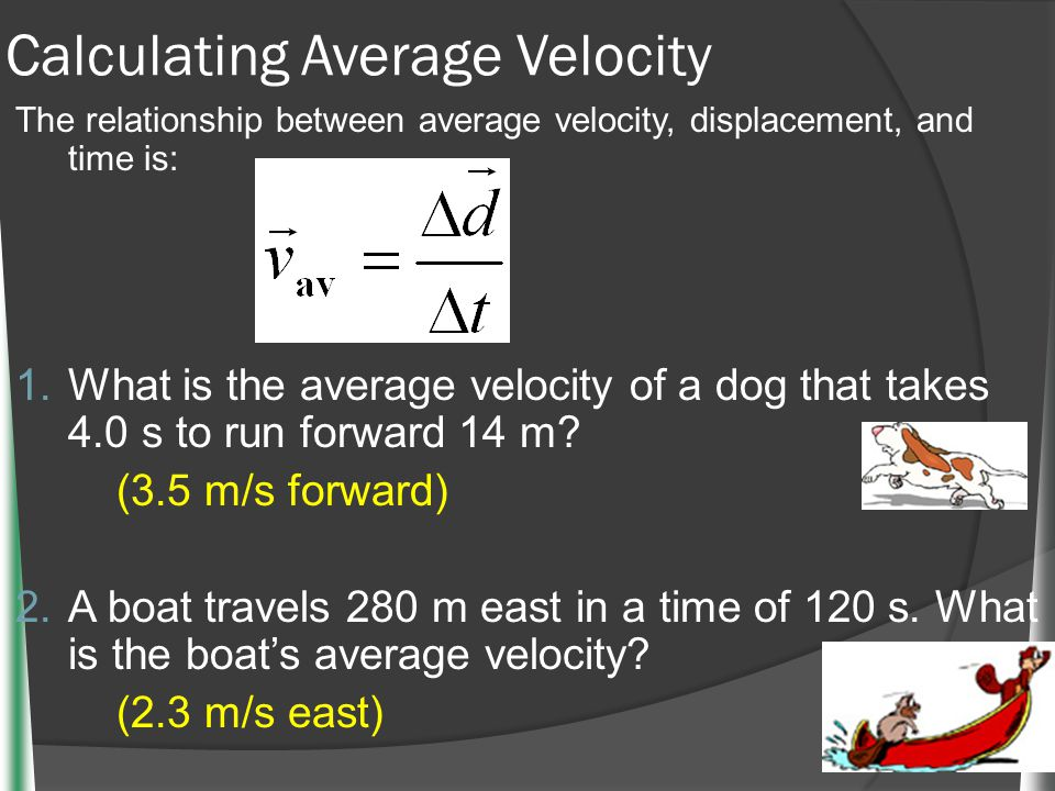 Calculating Average Velocity The relationship between average velocity, displacement, and time is: 1. What is the average velocity of a dog that takes