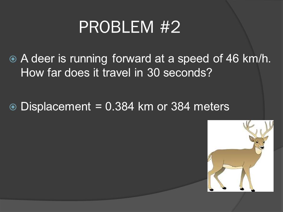 PROBLEM #2  A deer is running forward at a speed of 46 km/h. How far does it travel in 30 seconds?  Displacement = 0.384 km or 384 meters
