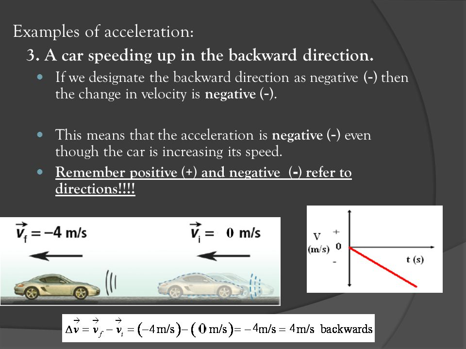 Examples of acceleration: 3. A car speeding up in the backward direction. If we designate the backward direction as negative ( - ) then the change in