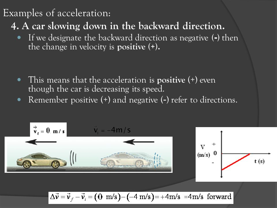 Examples of acceleration: 4. A car slowing down in the backward direction. If we designate the backward direction as negative ( - ) then the change in