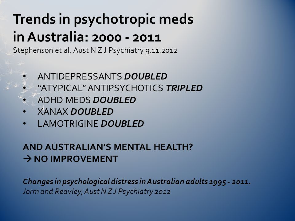 ANTIDEPRESSANTS DOUBLED ATYPICAL ANTIPSYCHOTICS TRIPLED ADHD MEDS DOUBLED XANAX DOUBLED LAMOTRIGINE DOUBLED AND AUSTRALIAN'S MENTAL HEALTH.