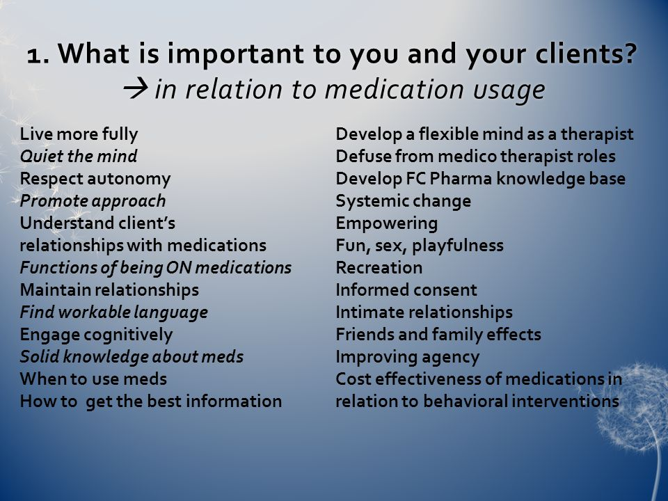 2.What medication-related stuff gets in the way for you and them.