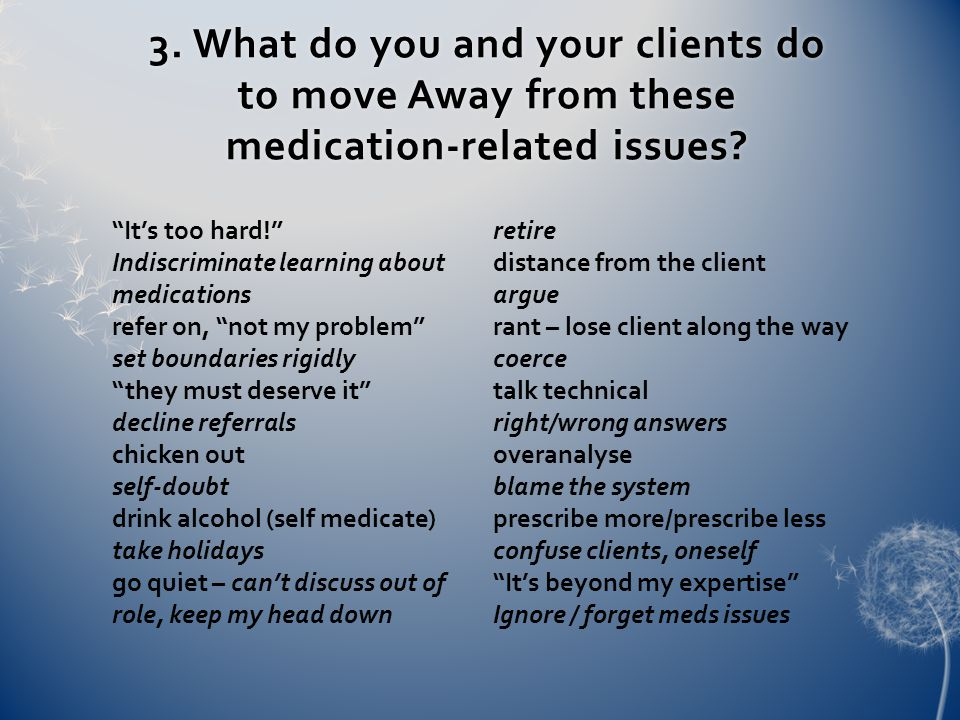 3. What do you and your clients do to move Away from these medication-related issues.