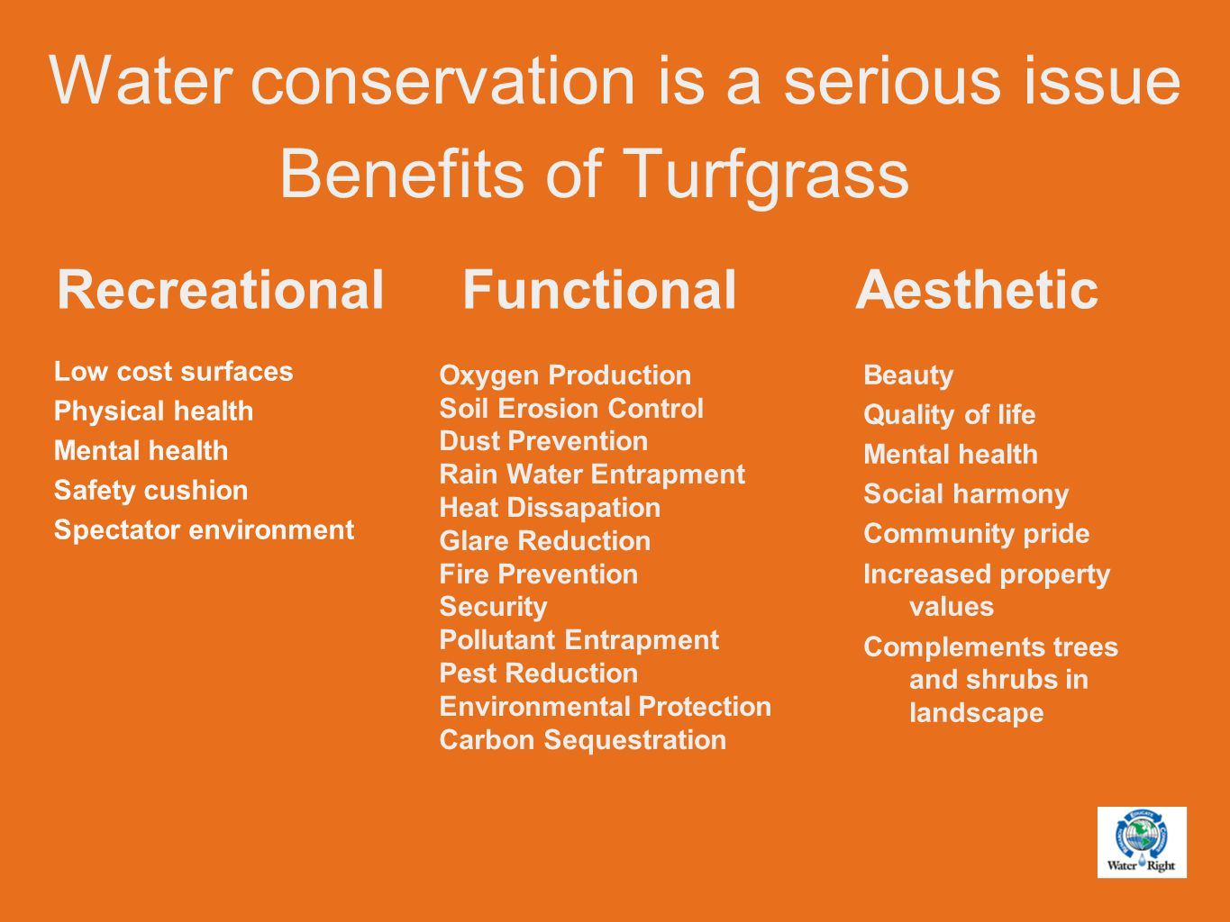 TWCA's approach to landscape water conservation.