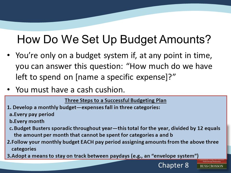 """How Do We Set Up Budget Amounts? You're only on a budget system if, at any point in time, you can answer this question: """"How much do we have left to s"""
