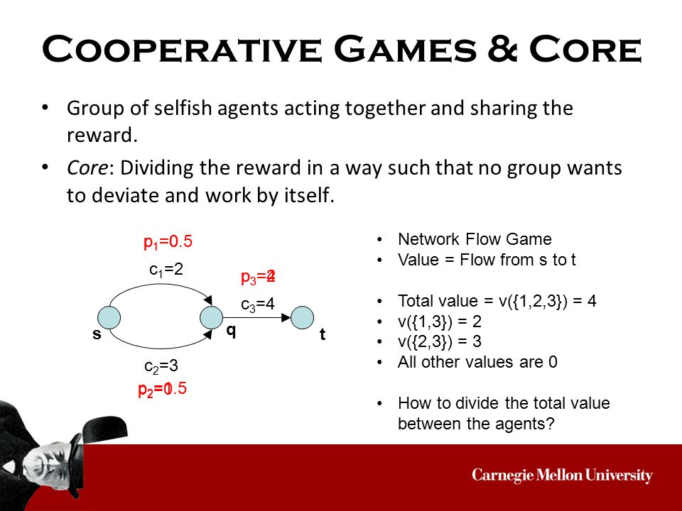Cooperative Games & Core Group of selfish agents acting together and sharing the reward.